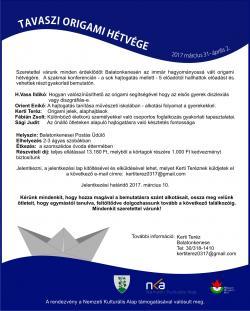 Origami hétvége 2017. március 31. - április 2. - Balatonkenese