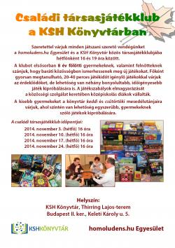Társasjátékklub a KSH Könyvtárban - meghívó